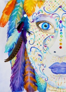 Mask with Feathers, 14x18, SALE $600 Framed