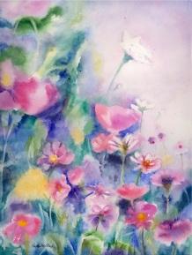 Pink Flowers (Deep) 12x16, $325