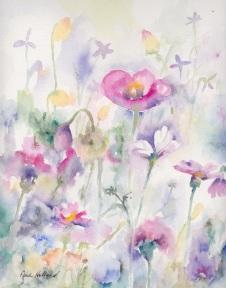 Pink Flowers (Light) 9x11, $210